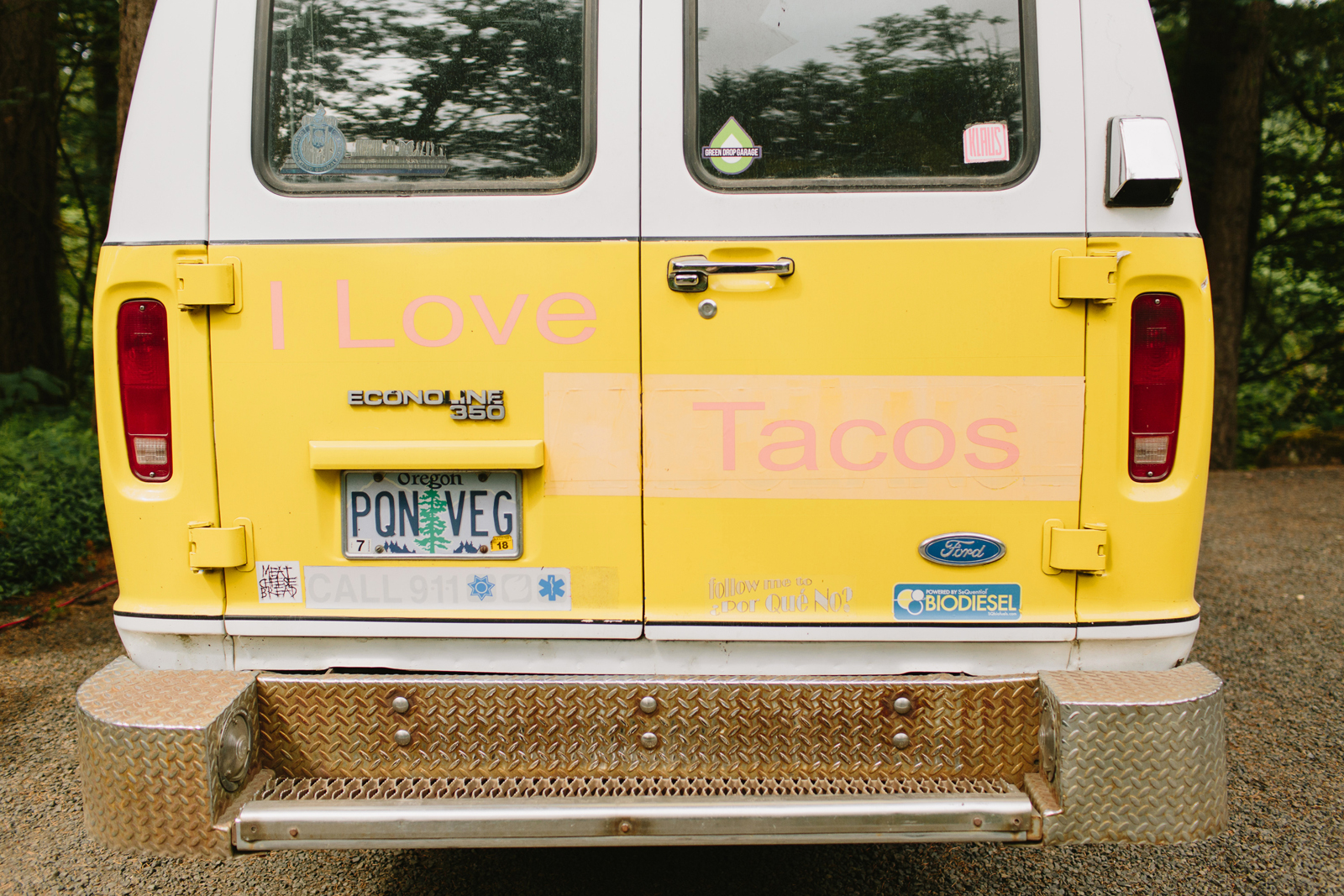 The Por Que No taco van at Bridal Veil Lakes in Corbett