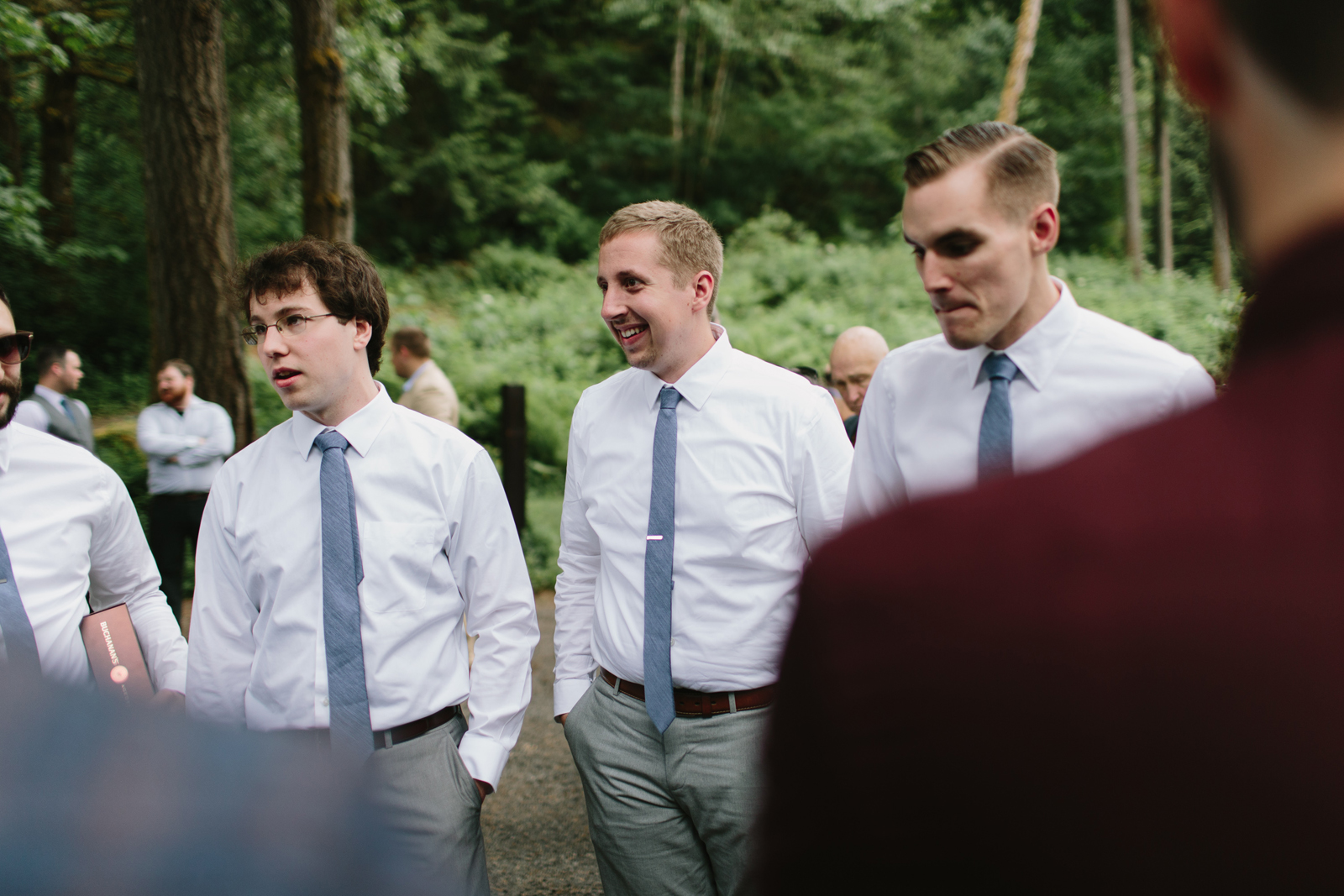 The groomsmen chat at Bridal Veil Lakes