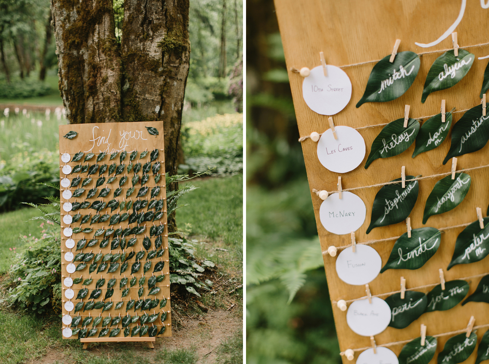 Seating chart for wedding at Bridal Veil Lakes in Corbett, Oregon