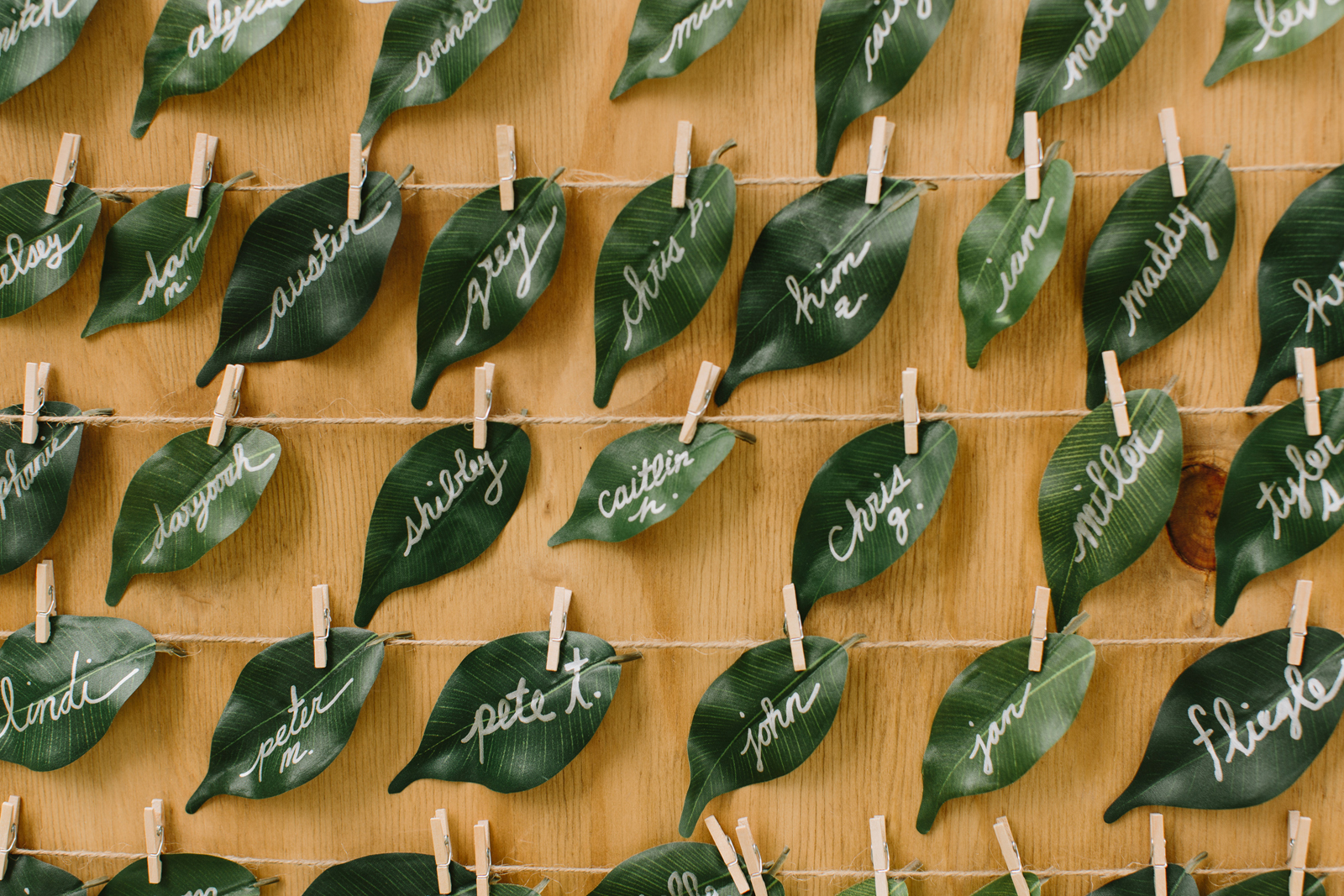 Leaf seating chart for wedding at Bridal Veil Lakes in Corbett, Oregon