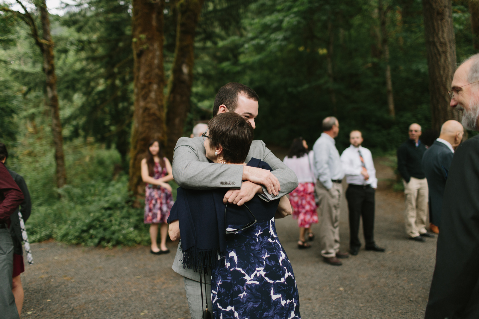 the grooms hugs his mom at wedding at Bridal Veil Lakes