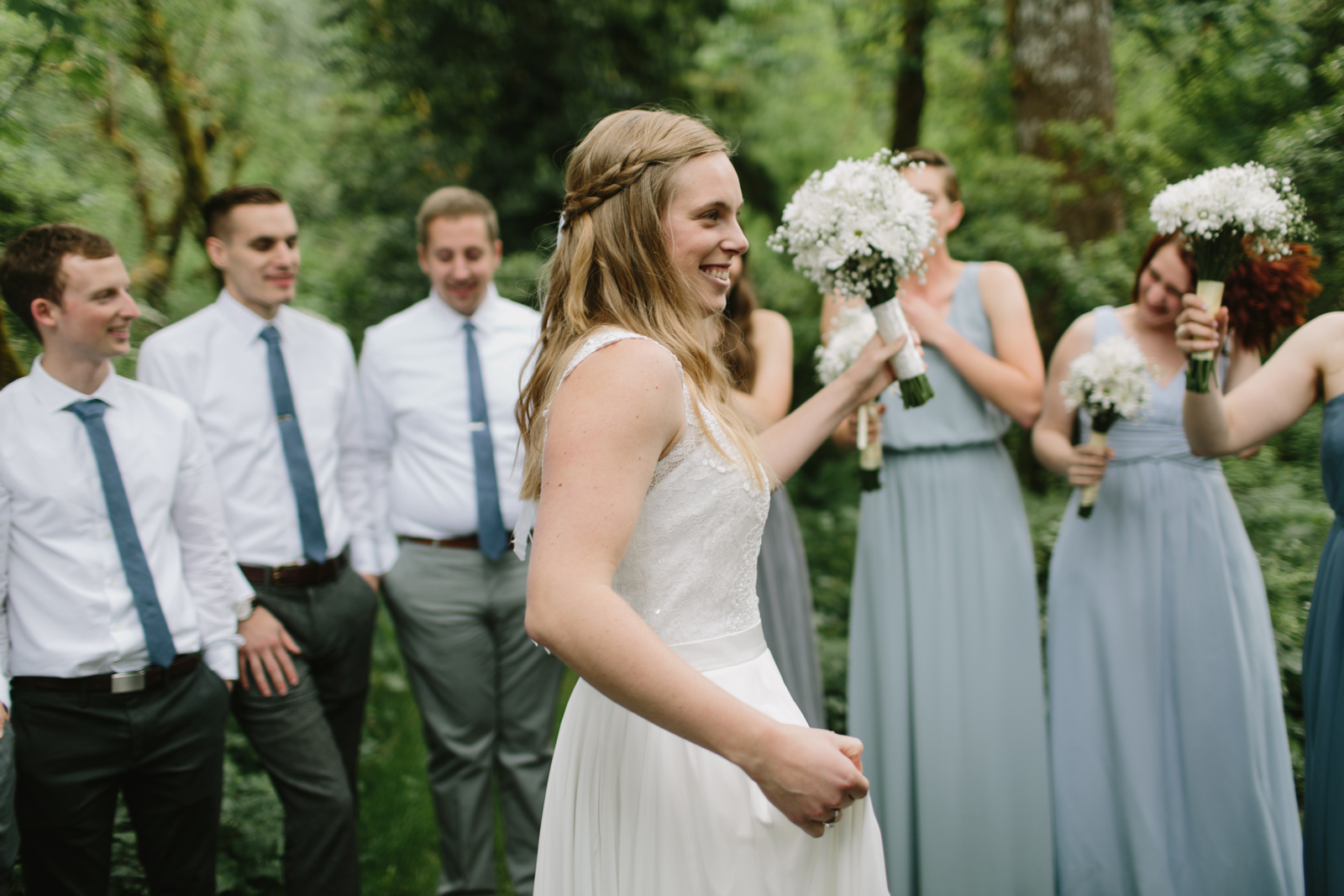 The wedding party celebrates after the wedding ceremony at Bridal Veil Lakes