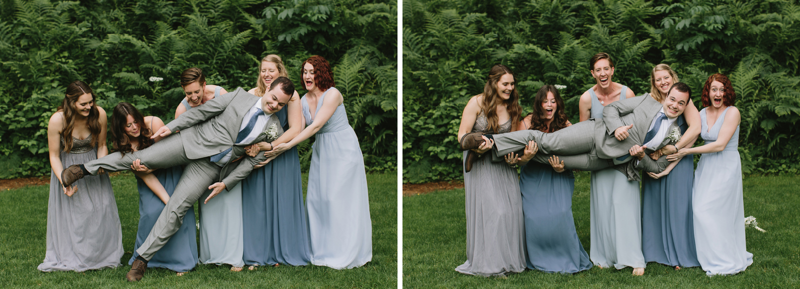 The bridesmaids hold the groom at Bridal Veil Lakes in Oregon