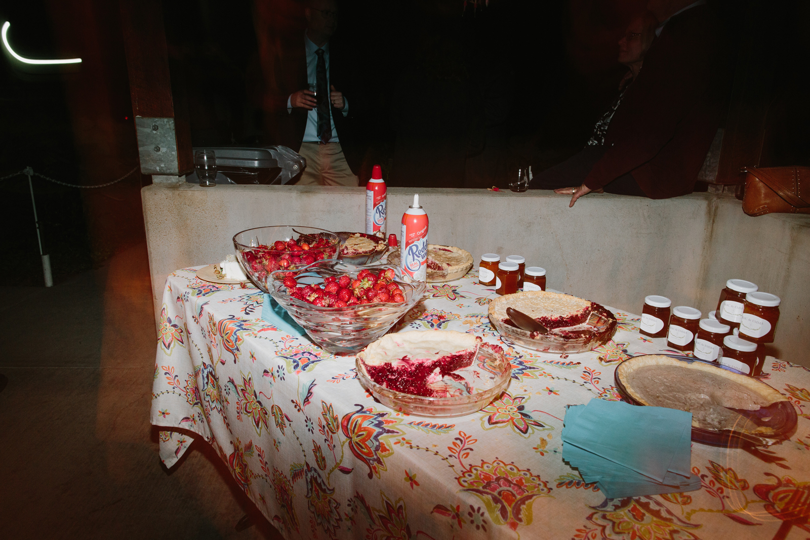 the pies sit on the table along with Reddi Whip during a wedding reception at Bridal Veil Lakes in Corbett, OR