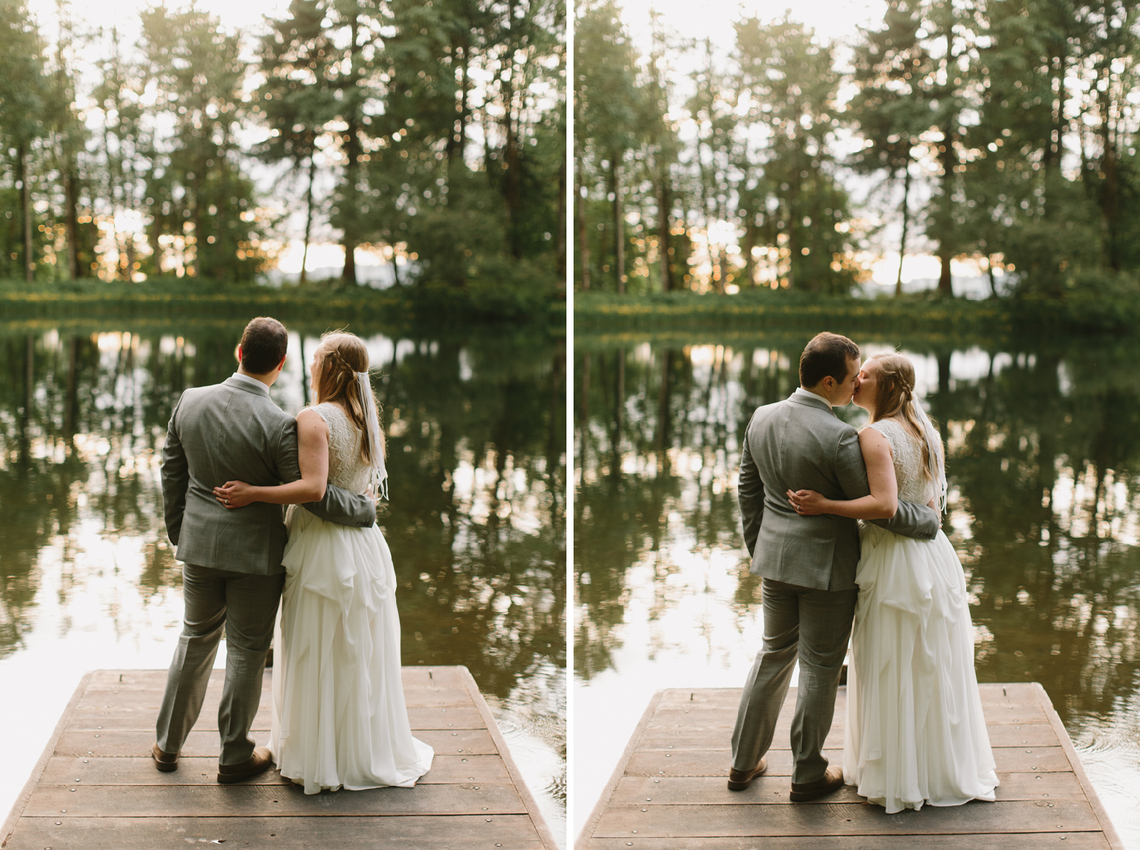 The bride and groom kiss during wedding portraits at Bridal Veil Lakes in Corbett, OR