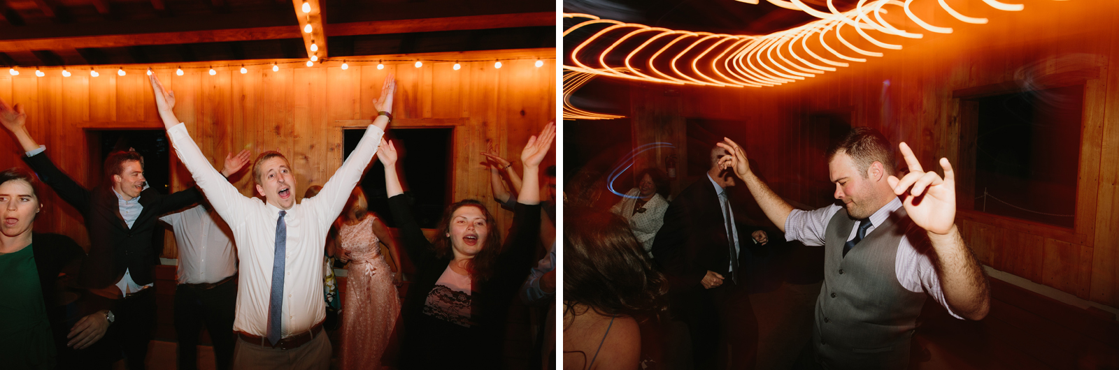 Wedding guests dance during wedding reception at Bridal Veil Lakes in Corbett, Oregon