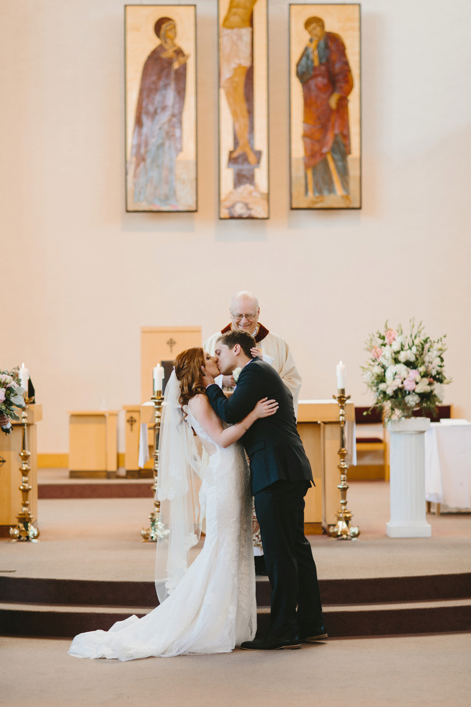 first kiss during church wedding ceremony in Portland, OR