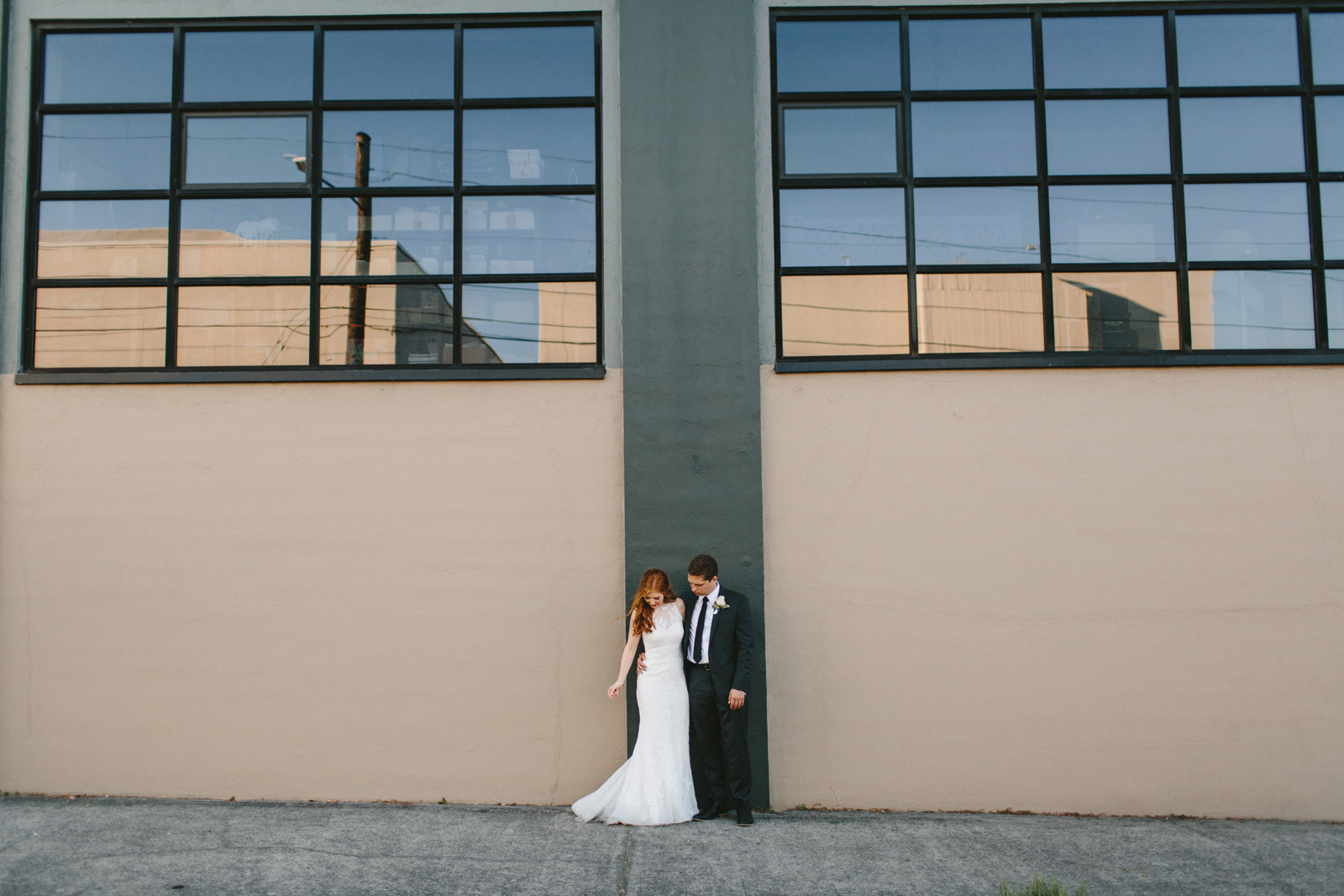 photograph of bride and groom in Northwest Portland Industrial District
