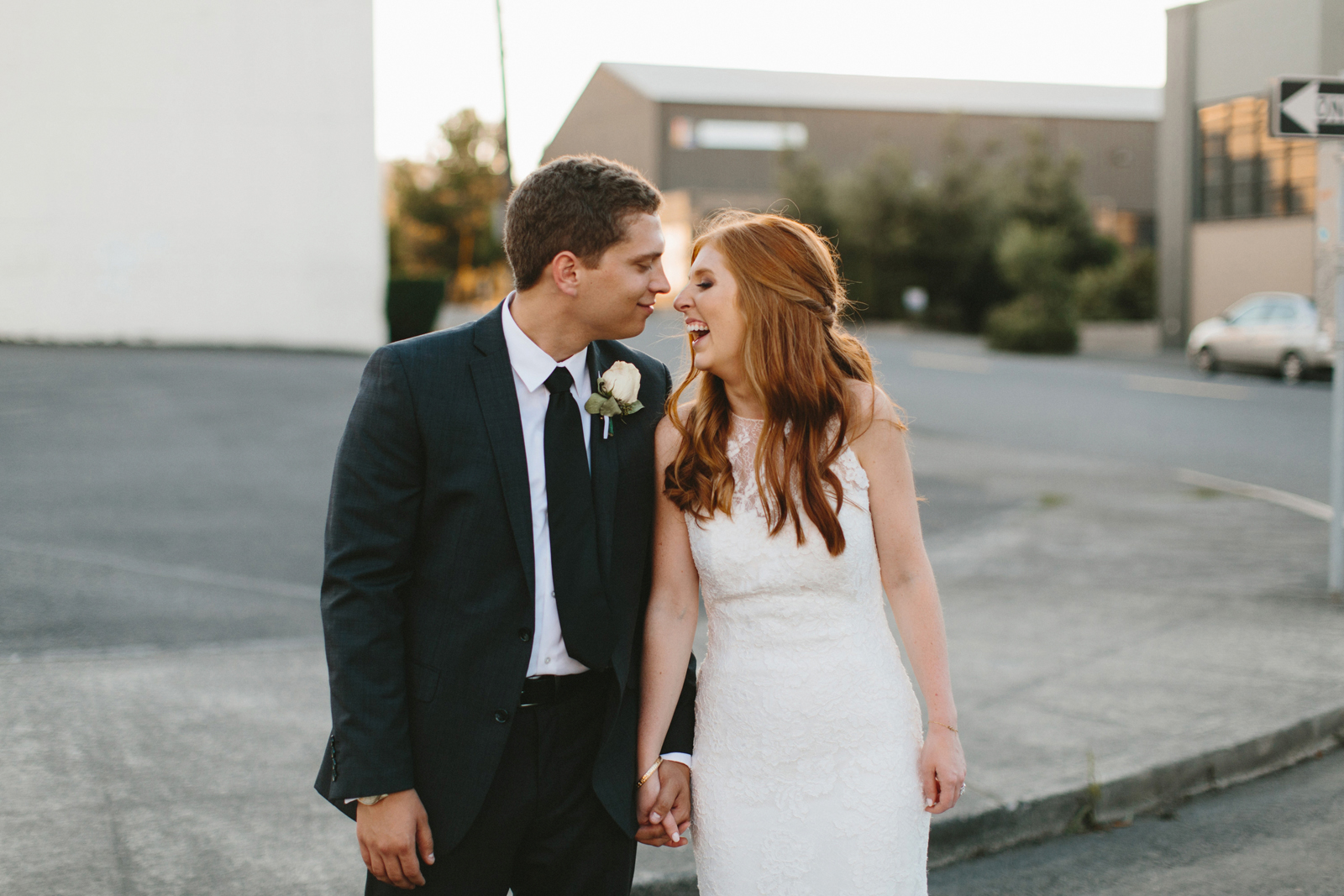 bride and groom photograph in Northwest Portland Industrial district