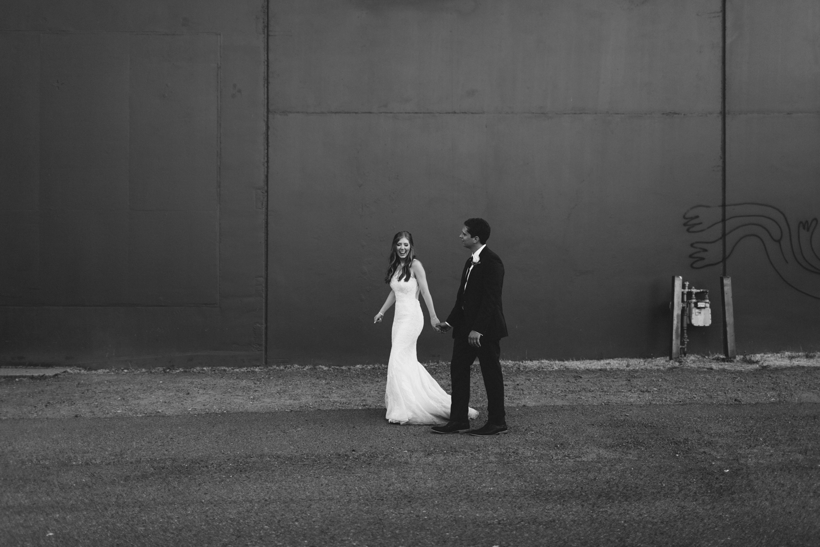black and white Castaway Portland wedding photograph