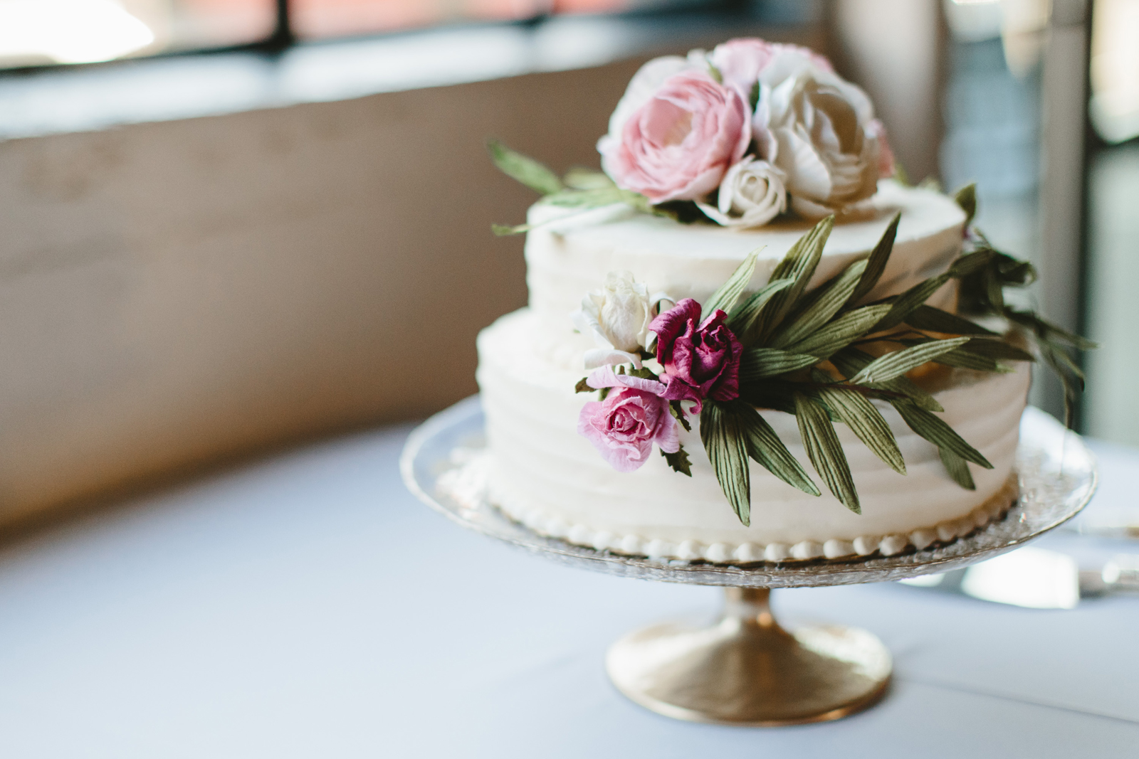 wedding cake by Kendra Hohman at Castaway Portland wedding venue