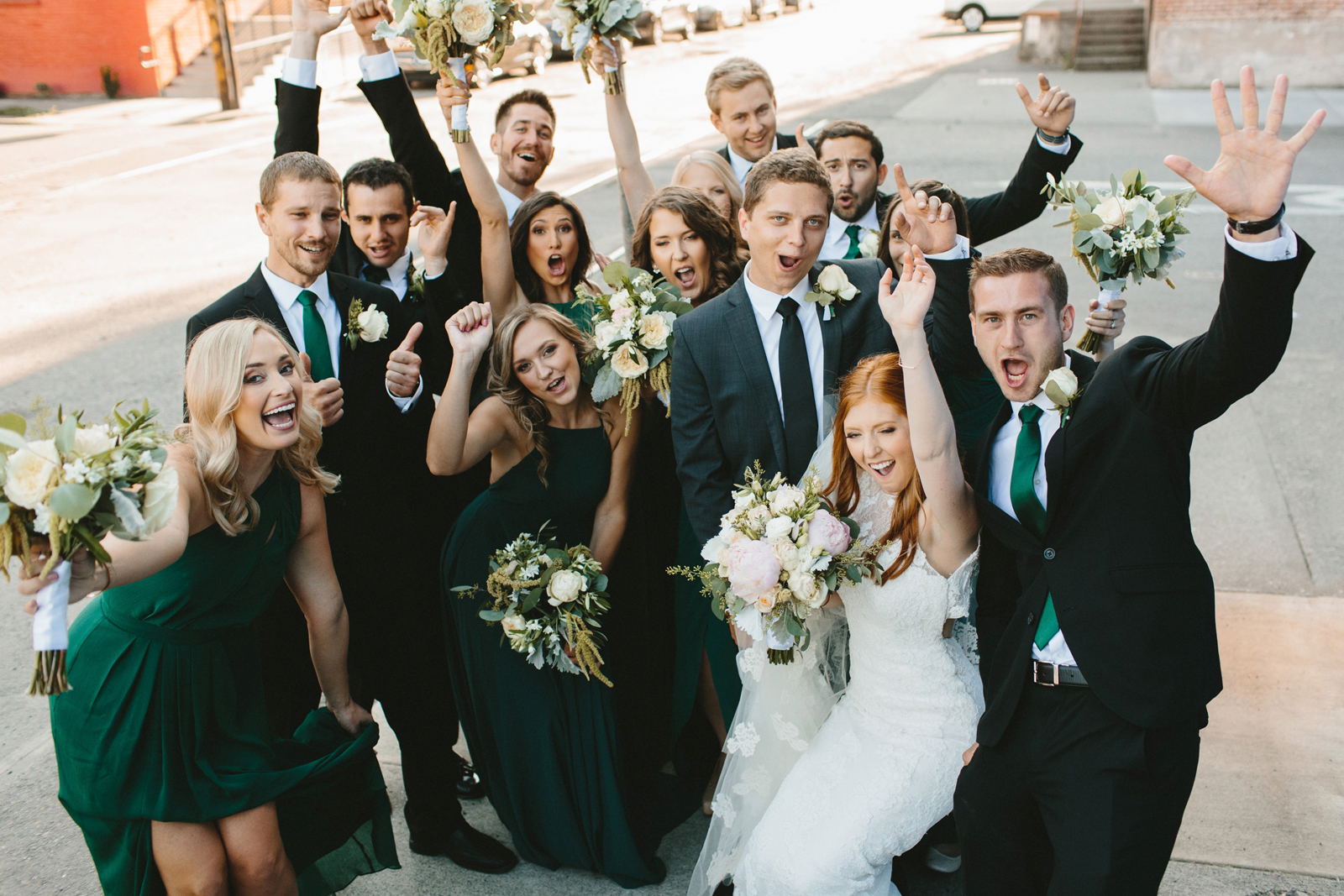wedding party cheers at Castaway Portland
