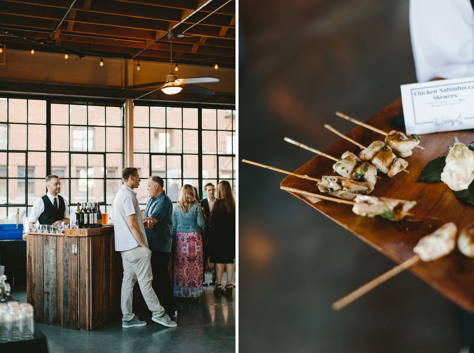 bar and appetizers at Castaway Portland wedding reception