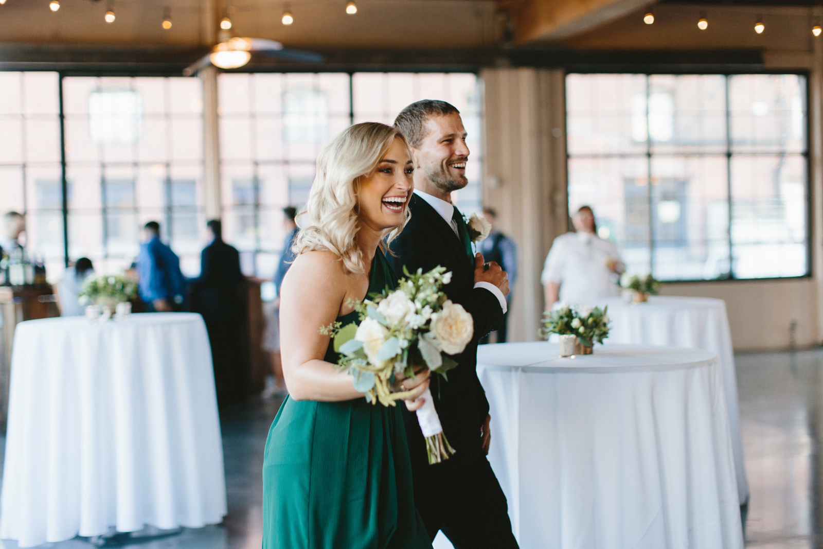 Castaway Portland wedding reception bridesmaid and groomsman